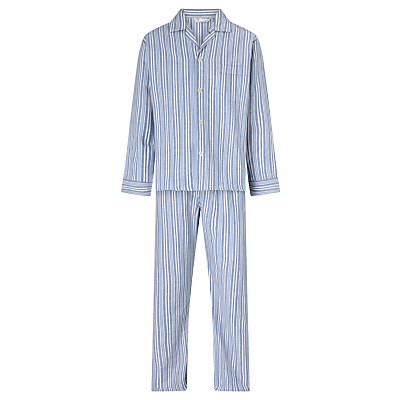 Derek Rose Brushed Cotton Stripe Pyjamas, Blue/White