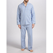 Buy Derek Rose Brushed Cotton Stripe Pyjamas, Blue/White Online at johnlewis.com