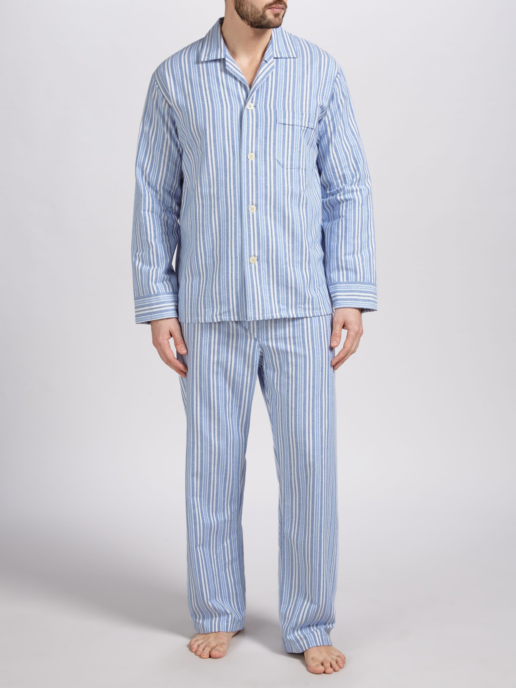 Derek Rose Derek Rose Brushed Cotton Stripe Pyjamas, Blue/White