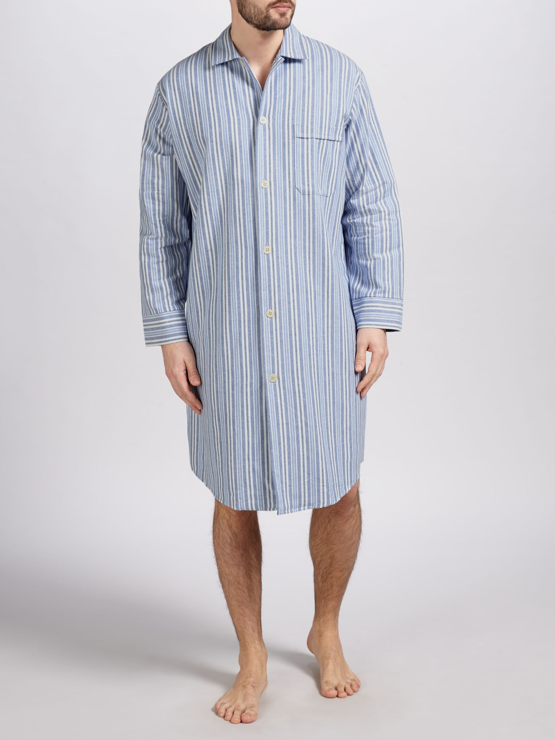 Derek Rose Derek Rose Brushed Cotton Stripe Nightshirt, Blue/White