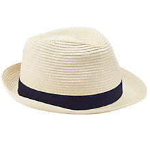 Buy John Lewis Packable Braid Trilby Hat, Beige Online at johnlewis.com