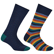 Buy John Lewis Made in Italy Bold Stripe Birdseye Socks, Pack of 2, Navy/Multi Online at johnlewis.com