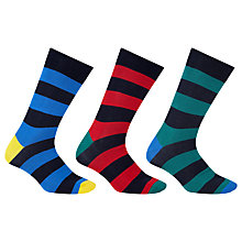 Buy John Lewis Rugby Stripe Socks, Pack of 3, Blue/Red/Green Online at johnlewis.com