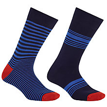 Buy John Lewis Made in Italy Irregular Stripe Socks, Navy/Blue Online at johnlewis.com