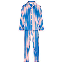 Buy Derek Rose Stripe Woven Cotton Pyjamas, Blue/Pink Online at johnlewis.com