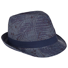 Buy John Lewis Palm Print Trilby Hat, Blue Online at johnlewis.com