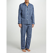 Buy Derek Rose Check Woven Cotton Pyjamas, Navy Online at johnlewis.com