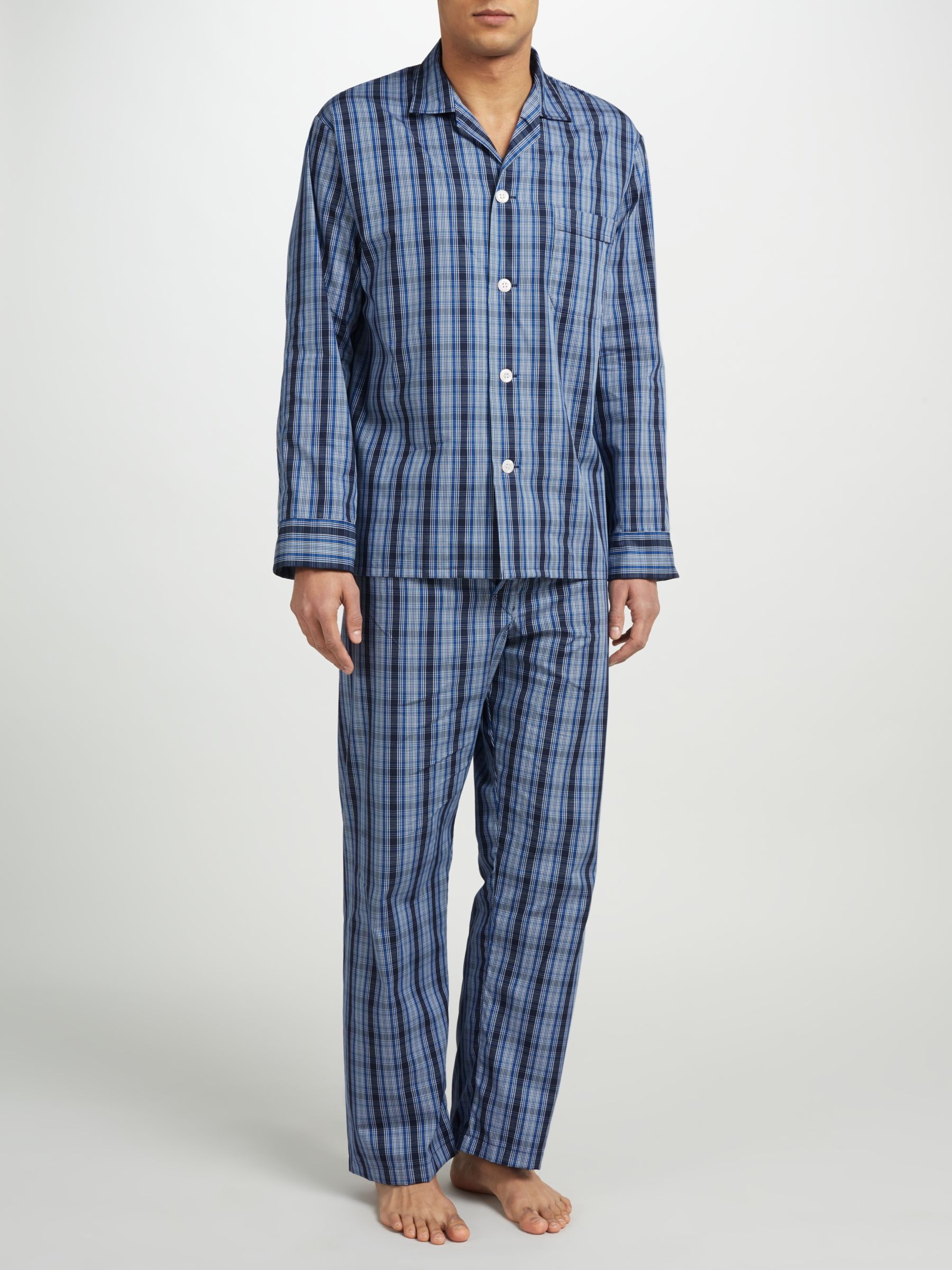 Derek Rose Derek Rose Check Woven Cotton Pyjamas, Navy