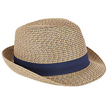 Buy John Lewis Two Twist Braid Trilby Hat, Natural Online at johnlewis.com