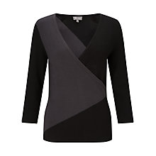 Buy Phase Eight Colourblock Wrap Top, Black/Charcoal Online at johnlewis.com