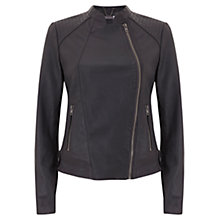 Buy Mint Velvet Leather Bomber Jacket, Grey Online at johnlewis.com