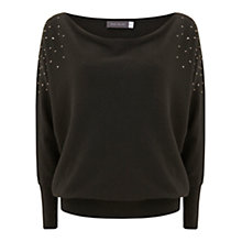 Buy Mint Velvet Stud Batwing Jumper, Khaki Online at johnlewis.com