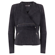 Buy Mint Velvet Suede Organic Biker Jacket, Grey Online at johnlewis.com