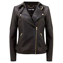 Buy Mint Velvet Leather Biker Jacket, Black Online at johnlewis.com