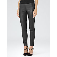 Buy Reiss Fade Leather And Denim Jeans, Black Online at johnlewis.com