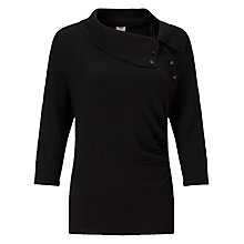 Buy Phase Eight Shaniya Split Neck Jumper, Black Online at johnlewis.com