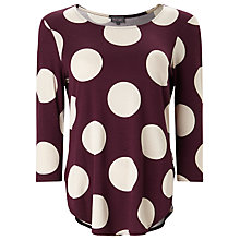 Buy Phase Eight Anna Spot Top, Port/Biscuit Online at johnlewis.com