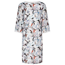 Buy Reiss Marianne Long Sleeve Dress, Off White/Multi Online at johnlewis.com
