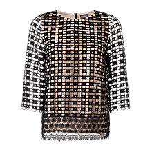 Buy Phase Eight Joy Textured Contrast Lace Blouse, Multicoloured Online at johnlewis.com