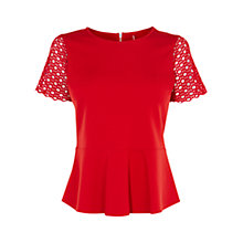 Buy Karen Millen Lace Sleeve Peplum Ponte Top, Red Online at johnlewis.com