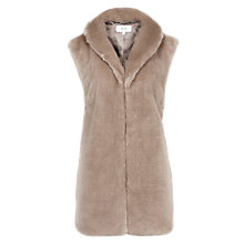 Buy Reiss Meyer Faux Fur Gilet, Soft Grey Online at johnlewis.com