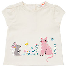 Buy John Lewis Baby Cat and Mouse Applique T-Shirt, Cream Online at johnlewis.com