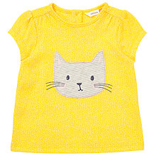 Buy John Lewis Baby Cat Appliqué Cap Sleeve T-Shirt, Yellow Online at johnlewis.com