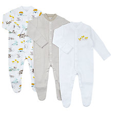 Buy John Lewis Baby GOTS Organic Cotton Farm Animal Sleepsuit, Pack of 3, White/Multi Online at johnlewis.com