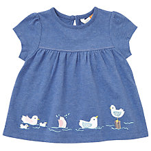 Buy John Lewis Baby Embroidered Bird Border T-Shirt, Blue Online at johnlewis.com