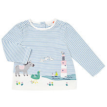 Buy John Lewis Baby Seaside Applique Striped Long Sleeved T-Shirt, Blue/White Online at johnlewis.com