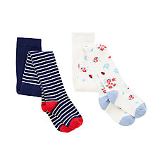 Buy John Lewis Girls' Ladybird Tights, Pack of 2, White/Navy Online at johnlewis.com