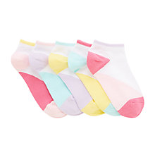 Buy John Lewis Children's Trainer Liner Socks, Pack of 5, Multi/Bright Online at johnlewis.com
