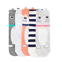 Buy John Lewis Children's Cat Socks, Pack of 5, Grey/Multi Online at johnlewis.com