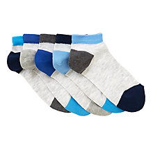 Buy John Lewis Children's Marl Trainer Socks, Pack of 5, Grey/Blue Online at johnlewis.com