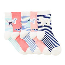 Buy John Lewis Children's Dog Socks, Pack of 5, Blue/Multi Online at johnlewis.com