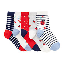 Buy John Lewis Children's Ladybird Socks, Pack of 5, Red/Blue Online at johnlewis.com