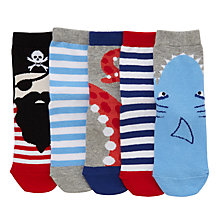 Buy John Lewis Children's Pirate and Shark Socks, Pack of 5, Blue/Multi Online at johnlewis.com