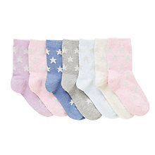 Buy John Lewis Children's Marl Glitter Star Socks, Pack of 7, Pink/Multi Online at johnlewis.com