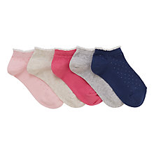 Buy John Lewis Children's Spotty Trainer Liners, Pack of 5, Grey/Multi Online at johnlewis.com