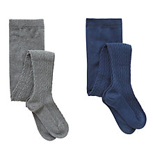 Buy John Lewis Girls' Cable Knit Tights, Pack of 2, Navy/Grey Online at johnlewis.com