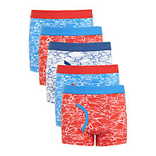 Buy John Lewis Boys' Shark Print Trunks, Pack of 5, Blue/Red Online at johnlewis.com