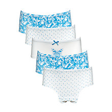 Buy John Lewis Girls' Hipster Butterfly Briefs, Pack of 5, Blue/White Online at johnlewis.com