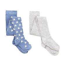 Buy John Lewis Girls' Glitter Star Tights, Pack of 2, Blue Online at johnlewis.com