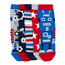 Buy John Lewis Children's Robot Socks, Pack of 5, Blue/Red Online at johnlewis.com