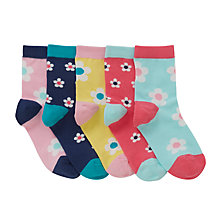 Buy John Lewis Girls' Bold Floral Socks, Pack of 5, Assorted Online at johnlewis.com