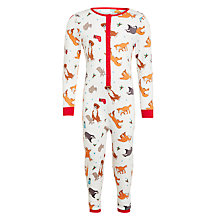 Buy John Lewis Buster the Boxer Woodland Animals Onesie, White/Multi Online at johnlewis.com
