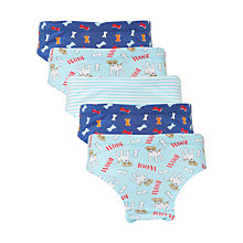Buy John Lewis Boys' Dog and Woof Briefs, Pack of 5, Blue Online at johnlewis.com