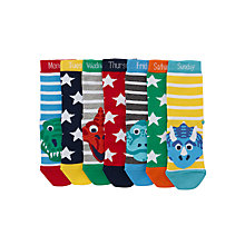 Buy John Lewis Children's Days Of The Week Dinosaur Socks, Pack of 7, Blue/Multi Online at johnlewis.com