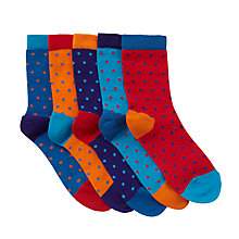Buy John Lewis Boys' Small Spot Print Socks, Pack of 5, Blue/Orange Online at johnlewis.com