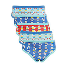 Buy John Lewis Boys' Robot Print Briefs, Pack of 5, Blue/Multi Online at johnlewis.com